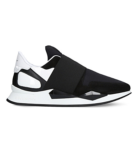 GIVENCHY Panelled leather and neoprene trainers (Blk/white
