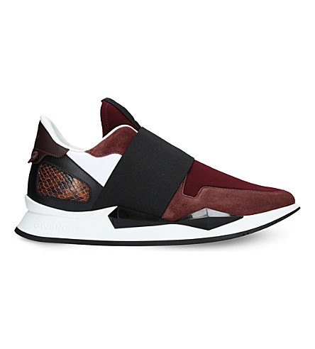 GIVENCHY Panelled leather and neoprene trainers (Wine