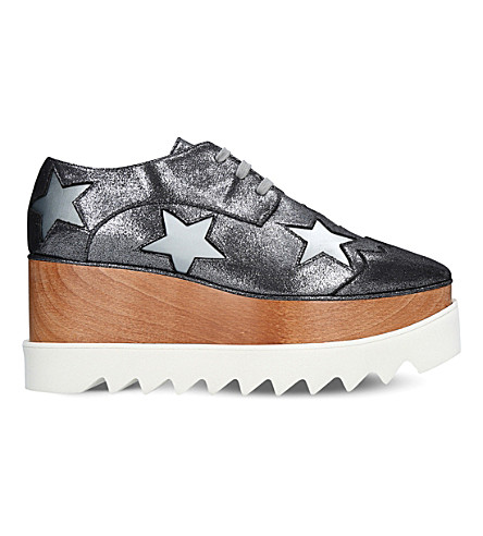 STELLA MCCARTNEY Elyse stars faux-leather flatform brogues (Silver+com