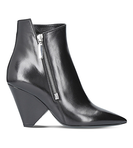 SAINT LAURENT Niki 85 leather heeled ankle boots (Black