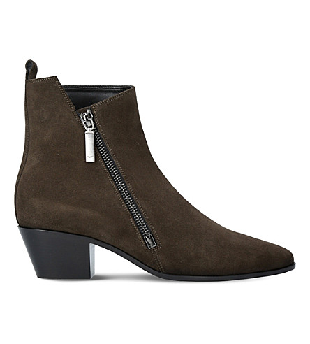 SAINT LAURENT Rock Blake zipped suede ankle boots (Khaki