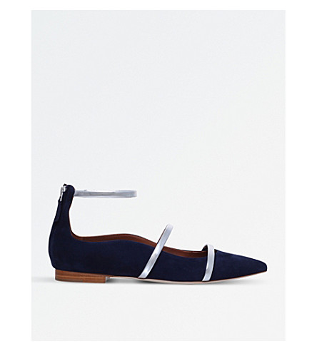 MALONE SOULIERS Robyn suede flat shoes (Navy