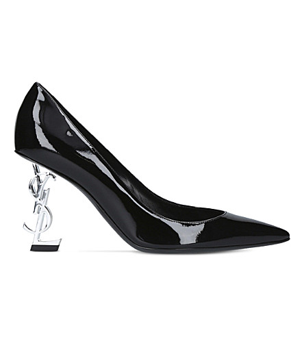 SAINT LAURENT Opyum 85 patent leather heeled pumps (Black
