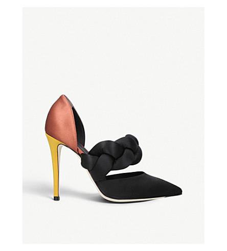 MARCO DE VINCENZO 编织专利皮革和缎布宫廷鞋 (其他