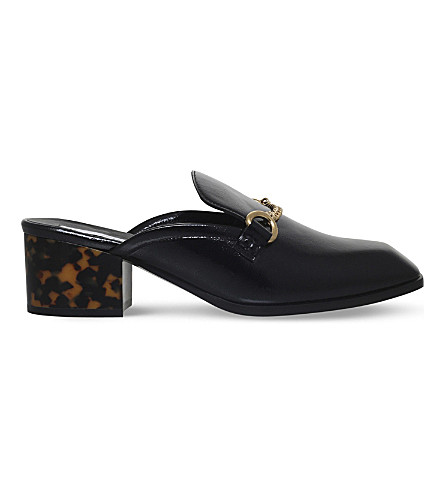 STELLA MCCARTNEY Chain block heel mule loafers (Black