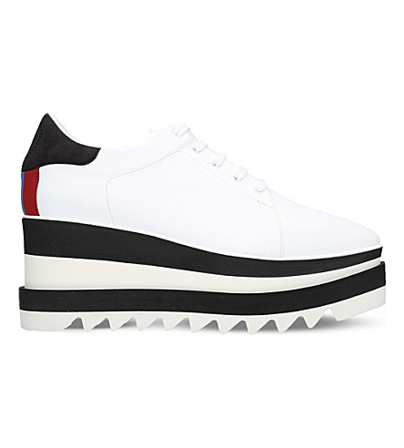 STELLA MCCARTNEY Elyse faux-leather flatform trainers (White/blk