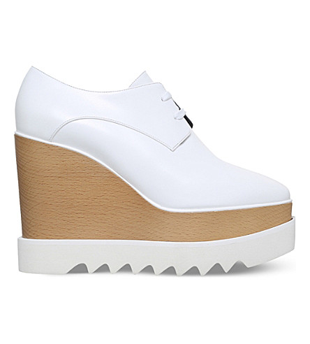STELLA MCCARTNEY Elyse faux-leather flatform brogues (White