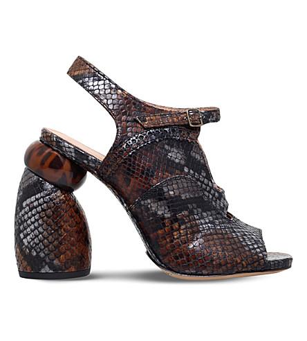 DRIES VAN NOTEN Snake-embossed leather sandals (Brown