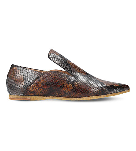 DRIES VAN NOTEN High-vamp leather shoes (Brown