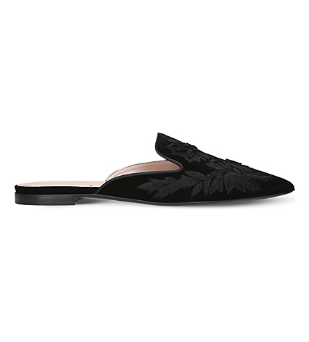 ALBERTA FERRETTI Mia floral-embroidered velvet mules (Black