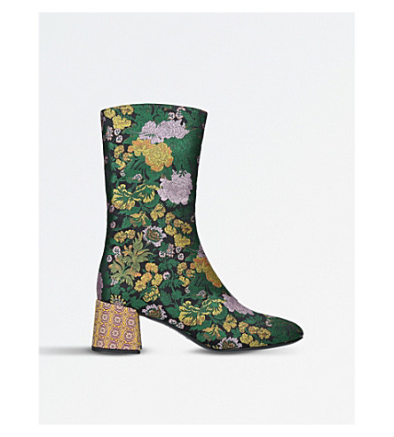 ERDEM Kaela embroidered ankle boots (Green+oth