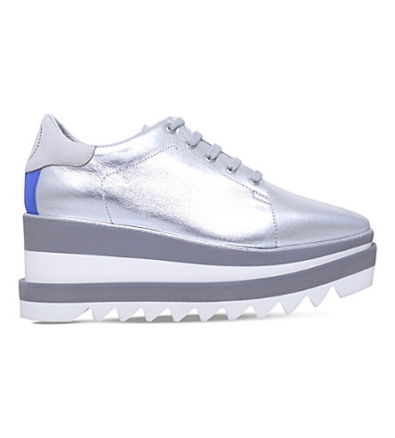 STELLA MCCARTNEY Sneak-Elyse faux-leather platform trainers (Silver+com