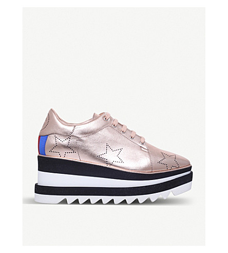STELLA MCCARTNEY Elyse faux-leather flatform trainers (Bronze+com