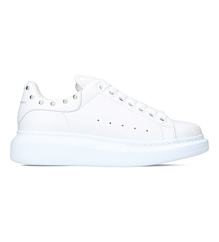 ALEXANDER MCQUEEN Studded leather trainers (White