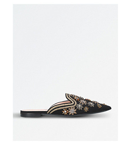 ALBERTA FERRETTI Mia Silk Starburst embellished and embroidered mules (Blk/other