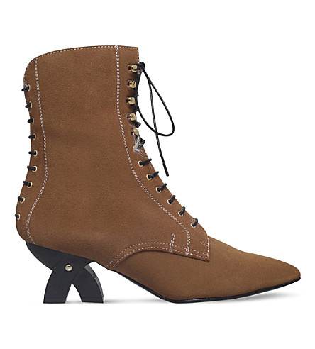 LOEWE Shearling suede ankle boots (Tan