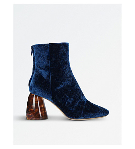 ELLERY Class velvet and perspex ankle boots (Navy