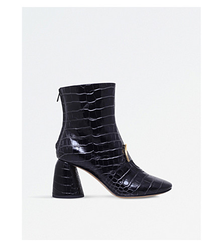 ELLERY Sonata crocodile-effect leather boots (Blk/other