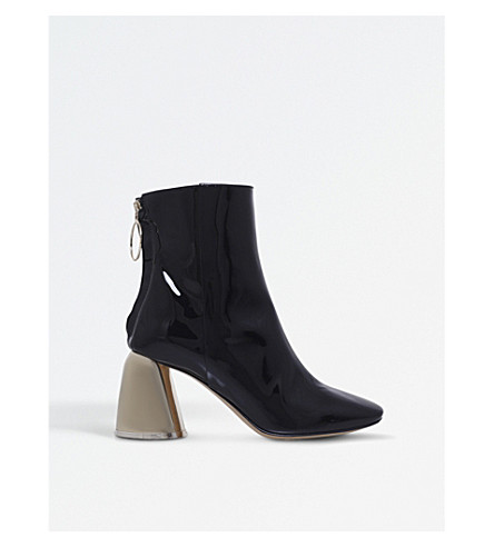 ELLERY Zipped patent-leather ankle boots (Blk/other
