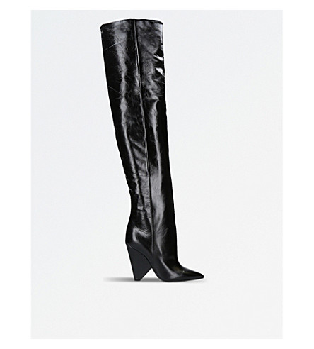 SAINT LAURENT Niki 105 over-the-knee leather boots (Black