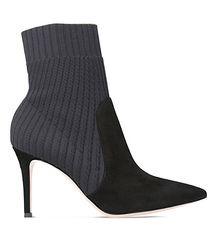 GIANVITO ROSSI Katie 85 knit and suede ankle boots (Black