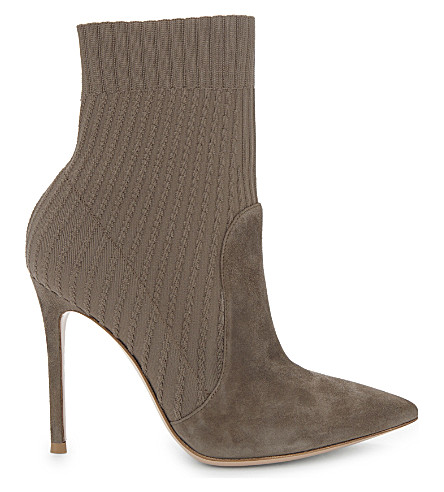 GIANVITO ROSSI Katie 105 suede sock ankle boots (Pink+comb