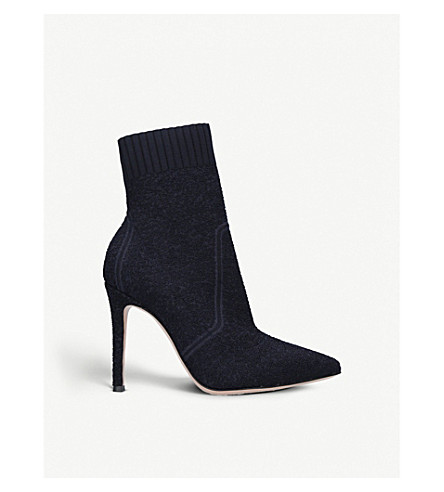 GIANVITO ROSSI Katie 105 suede sock ankle boots (Navy