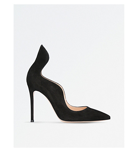 GIANVITO ROSSI Iris suede court shoes (Black