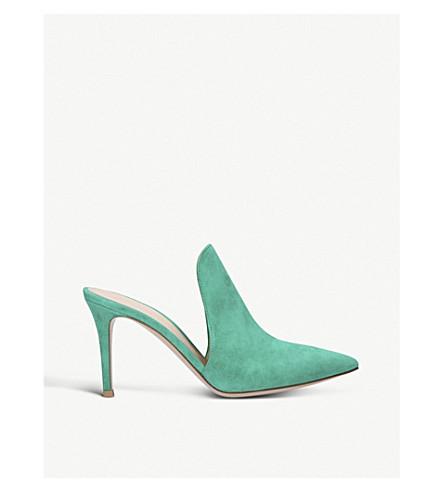 GIANVITO ROSSI 阿拉米斯85麂皮高跟鞋骡子 (绿色