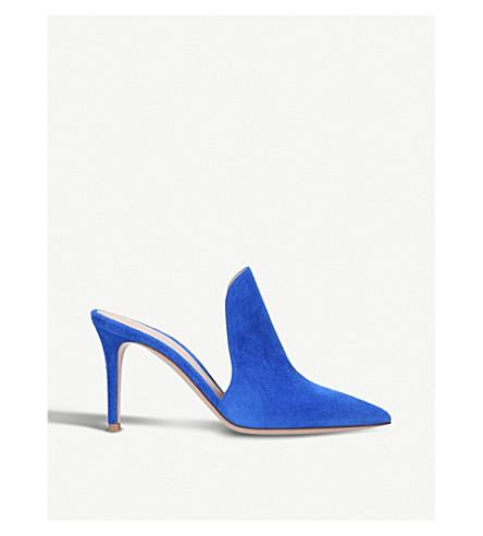 GIANVITO ROSSI Aramis 85 suede heeled mules (Blue
