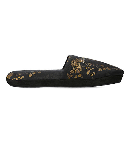 GIANVITO ROSSI Bellagio floral-jacquard slippers (Blk/other