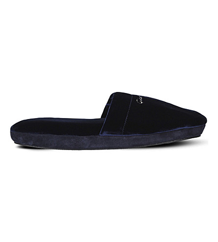 GIANVITO ROSSI Bellagio logo-embroidered velvet flats (Denim