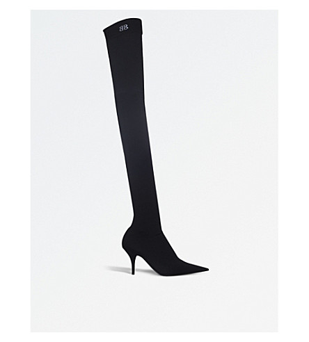 BALENCIAGA Knife over-the-knee spandex boots (Black