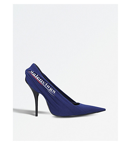 BALENCIAGA Knife logo-print spandex courts (Blue+other