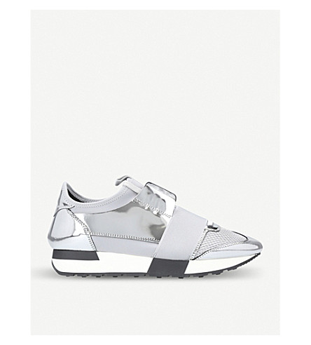 BALENCIAGA Race Runners metallic-leather and mesh trainers (Silver