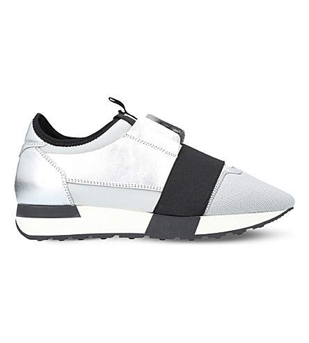 BALENCIAGA Race Runners leather and mesh trainers (Silver