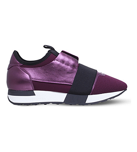 BALENCIAGA Race Runners leather and mesh trainers (Purple