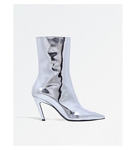ee2a47491cf BALENCIAGA Slash 80 metallic leather heeled ankle boots (Silver