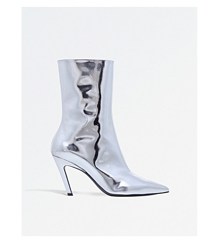 BALENCIAGA Slash 80 metallic leather heeled ankle boots (Silver