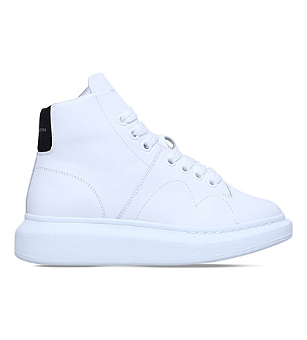 ALEXANDER MCQUEEN Oversized leather high-top trainers (White/blk