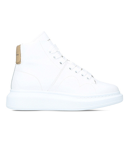 ALEXANDER MCQUEEN Runway high-top leather trainers (White/oth