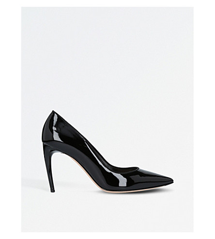 ALEXANDER MCQUEEN Horn heel patent leather court shoes (Black