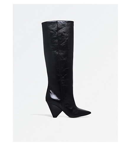 SAINT LAURENT Niki 85 leather boots (Black