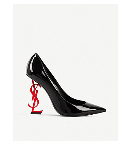 SAINT LAURENT Opyum 110 patent-leather courts (Blk/red