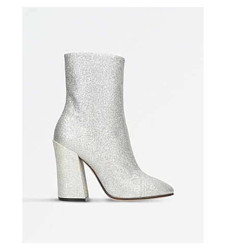 DRIES VAN NOTEN Capped-toe glitter ankle boots (Bone