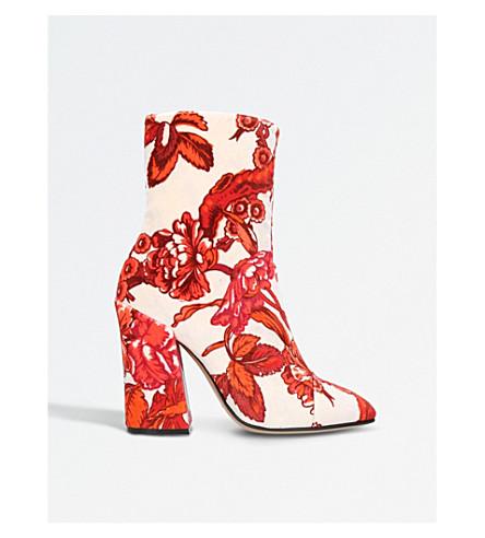 DRIES VAN NOTEN Floral velvet ankle boots (Red