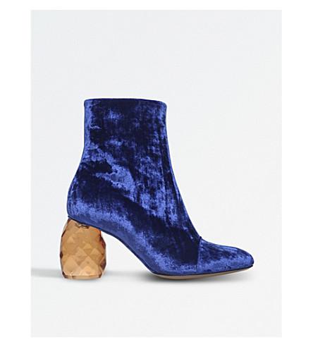 DRIES VAN NOTEN Crystal heel velvet ankle boots (Blue/dark