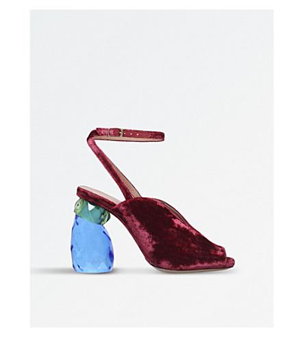 DRIES VAN NOTEN Crystal heel velvet sandals (Rust