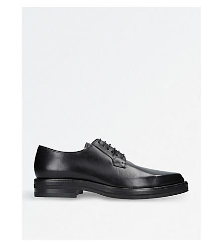 DRIES VAN NOTEN Pointed-toe leather Derby shoes (Black