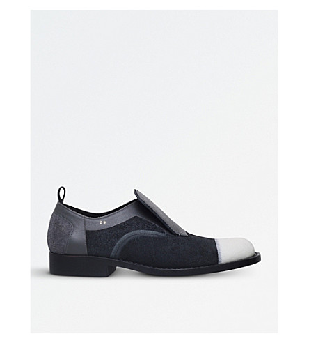 COMME DES GARCONS Panelled suede and leather slip-on shoes (Black